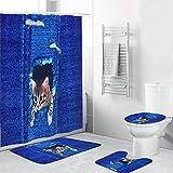 Cortina de ducha de gato, cortina de baño impermeable poliéster 4PCS/Set