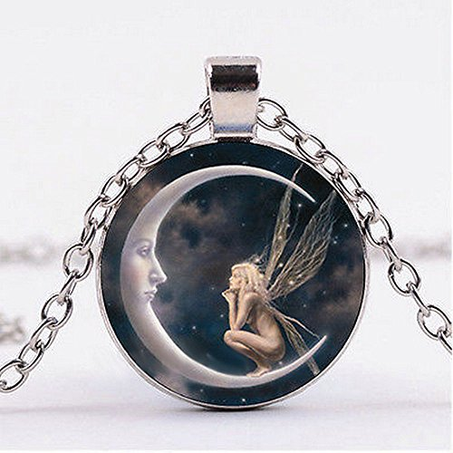 paweena Fairy on The Moon Photo Cabochon Glass Silver Chain Pendant Necklace Jewelry New