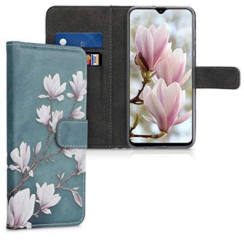 kwmobile Carcasa Compatible con Samsung Galaxy A30s - Funda de Cuero sintético Magnolias - con Tarjetero