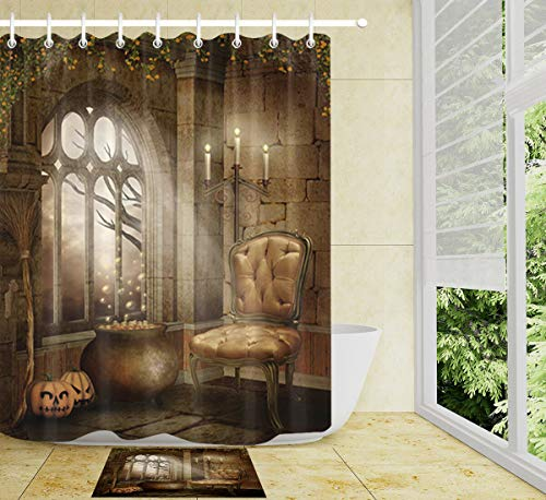 HYTCV Halloween Pumpkin Cauldron And Candelabra Digital printing bathroom curtain set (12 hooks)