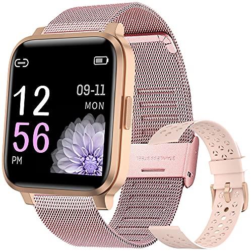 Smartwatch Damen,Fitness Tracker IP68 Wasserdicht Smart Watch mit Aktivitätstracker Schlafmonitor,Sportuhr Fitnessuhr Pulsuhren Schrittzähler Uhr für iOS Android Handy