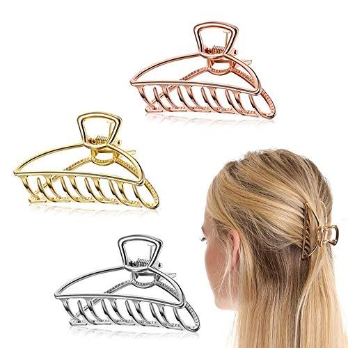 Klaue Clips,3 Stück Elegante Sichelförmige Haargreifer Haarspangen, Metall Krallen Clips Hohle,Rutschfeste Haarnadel Haar Zubehör Für Mädchen Haarspange zum Fixieren des Haares