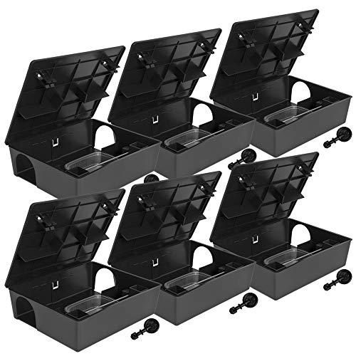 Petigi 6 x Köderstation Kompaktbox Köderbox Mäusebox Rattenbox Falle Nagerköderstation