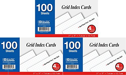 """3 Pk, Bazic Grid Index Cards,Quad Ruled 4-1"""", 100 Sheets Per Pack (Total of 300 Cards)"""