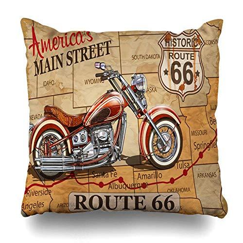 Egoa Cushion Cover Moto benzine Vintage Route 66 motorfiets transport poster piloot transport sport recreatief herbergen vierkante kussensloop huis decoratie kussen kussensloop