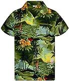 King Kameha - Camisa hawaiana para hombre, manga corta, bolsillo frontal, estampado hawaiano Surf verde oscuro. M