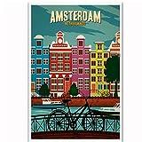 KBIASD Amsterdam Países Bajos Bicicleta Vintage Viajes Paisaje Turismo Cartel Arte Lienzo Lienzo Hogar Habitación Impresión de la Pared Decoración-40 * 60 cm sin Marco
