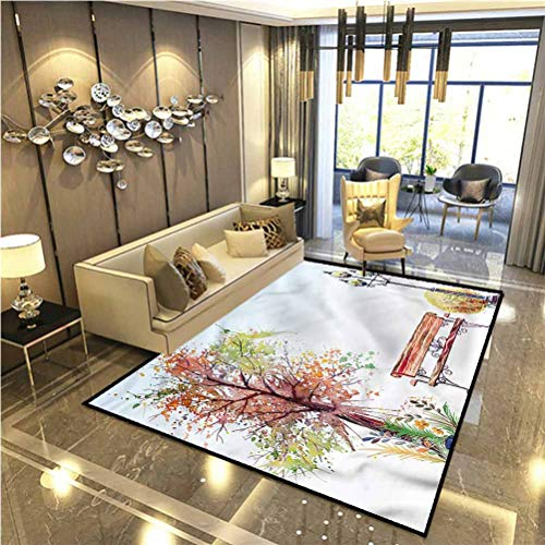 Tree Bath Rugs Rugs and Carpets Indoor Outdoor Rug Watercolor Style Fall Season Dining Room Home Bedroom Carpet Floor Mat 6.5 x 9.8 Ft
