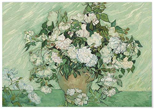 Panorama Póster Van Gogh Rosas Horizontal 70x50 cm - Impreso en Papel de 250gr - Póster Pared - Láminas para Enmarcar - Cuadros Decoración Salón - Pósters Decorativos - Cuadros Modernos
