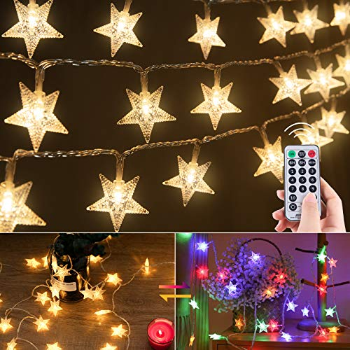 Color Changing Star String Lights Plug In - 33 Feet 100 Led Star Fairy Lights with Remote and Timer, 11 Lighting Modes 2 in 1 String Light Waterproof for Bedroom Outdoor Ramadan Holiday Decor