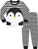 MOMBEBE COSLAND Pijamas Pingüino Niños Manga Larga (5 años, Negro)