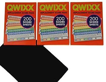 QWIXX 3 Replacement Score Pad Boxes Bundle - 600 Score Sheets  Score Cards  - Bonus Hickoryville Velour Storage Bag