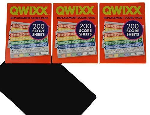 Qwixx 3 Replacement Score Pad Boxes Bundle - 600 Score Sheets - Bonus Hickoryville Velour Storage Bag
