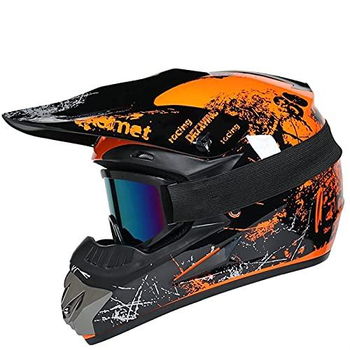 Cascos Moto Y Elegantes Bicicleta Carreras Motocross Casco De Descenso Casco Todoterreno Montaña Casco Resistente A Caídas De Cara Completa Protector Seguridad Cabeza (Color : A, Tamaño : S)