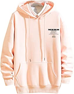 Ultramall Tops Men's Casual Fashion Letter Printing Hoodie Long Sleeves Sport Sweatershirt Tops