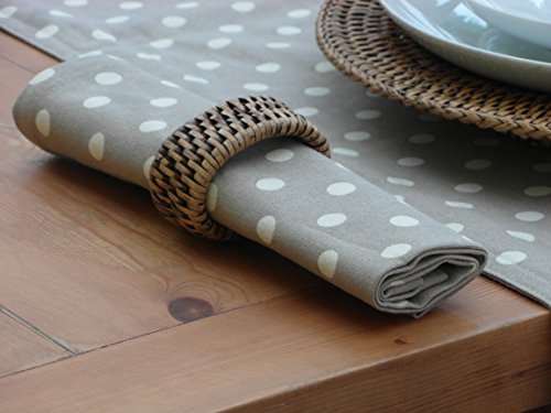 Lot de 4 serviettes de table en coton design avec motif à pois Crème/beige/taupe vintage style Cath Kidston * * * * * * * * * * * * * * * *
