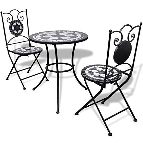 Lingjiushopping Bistro Table mosaïque 60 cm avec 2 chaises Noir/Blanc Couleur : Noir/Blanc Matériau : Acier laqué Structure en Fer + carrelage en céramique sièges et Dessus de Table