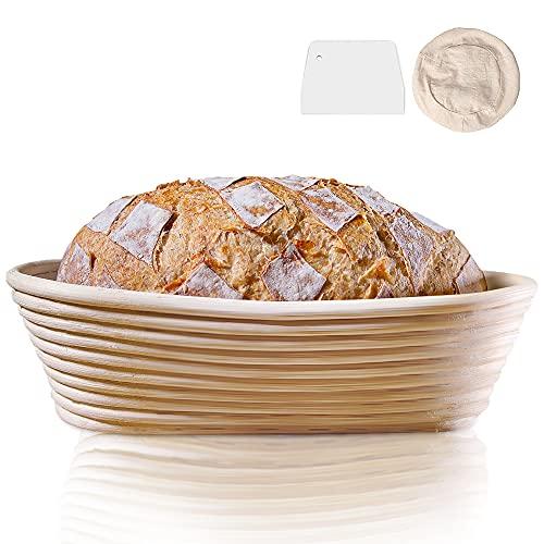 DUTISON Gärkörbchen 28 x 14 x 8 cm, Oval 750g Gärkorb für Brot aus natürlichem Peddigrohr, ideale Brotform Brotkasten Gärkörbchen mit Leineneinsätze, Teigschaber