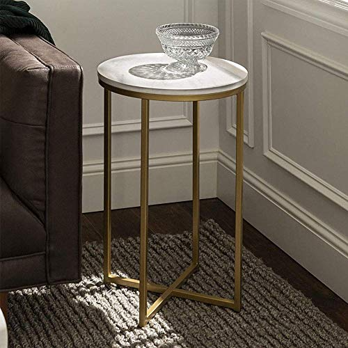 YVX Tray End Table, Foldable & Removable Round Side Tables, Snack Table Coffee Table with Marbling Pattern for Living Room Bedroom Home Storage, 20 x 20 x 0.8mm