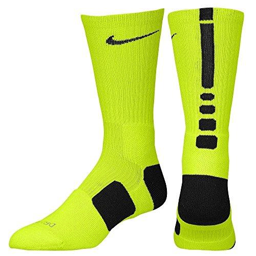Nike Dri-Fit Elite Crew Basketball Socks-Volt/Black-Large
