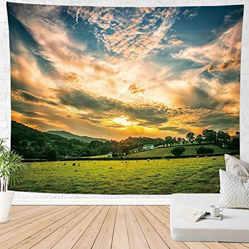 KnSam Tapices decorativos de pared para sala de estar de poliéster, paisaje natural, resistente al moho, multicolor para sala de estar, escritorio, estilo al aire libre, 23 x 95 x 73 cm