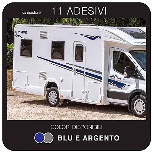 kamiustore Adesivo Rimor Evo per Camper in Vinile prespaziato Colore Blu/Argento - Kit 11 Adesivi componibili