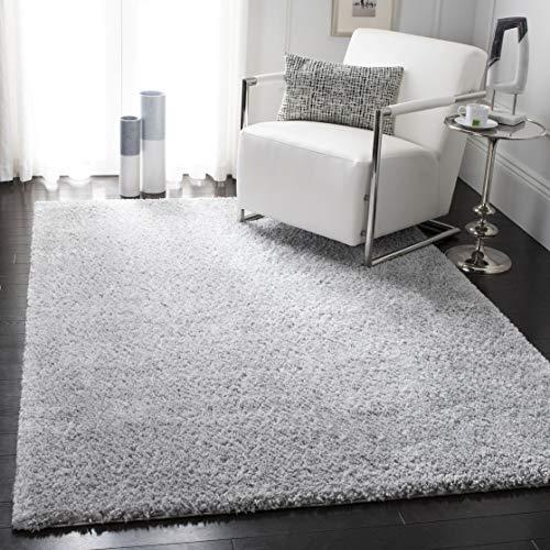 Safavieh August Shag AUG900G Modern Contemporary Plush Area Rug, 5' 3' x 7' 6', Silver