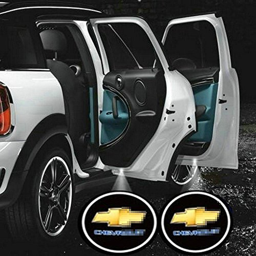 2pcs Universal Wireless Car Projection Cree LED Projector Door Shadow Light Welcome Light Emblem Logo Lamps Kit for Chevy Chevrolet