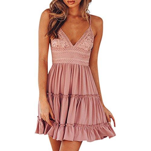 Petalum Damen Kleid Sommerkleid rmellos V Ausschnitt A Linie Partykleid Rckenfrei Spaghettitrger Strandkleid mit Schleifen in 4 Farben