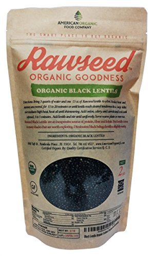 Rawseed Black Lentils Organic Certified 2 lbs,Non Gmo. Grown in Canada / Packaged in USA