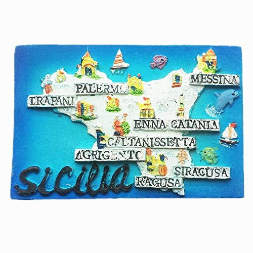 Italia Sicilia mapa Italia imán de nevera, decoración del hogar y la cocina etiqueta magnética artesanía regalo del recuerdo turístico