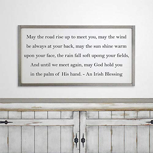 DONL9BAUER Irish Blessing Wood Framed Plaque Celtic Prayer Mural Farmhouse Rustic Wood Sign Wall Decor Perfect for Bar Office & Home Art