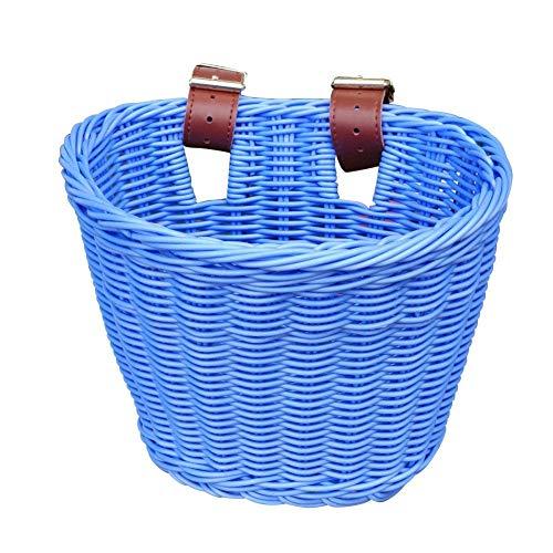 Rikey Kinder-Fahrradkorb (4 Farben Erhältlich), Handgewebter Rattan-Lenker-Fahrradkorb Für Jungen Und Mädchen, Blau