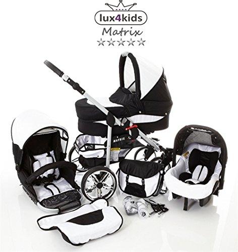 Chilly Kids Matrix II 3 en 1 Poussette combinée (siège auto inclus les adaptateurs, habillage pluie, moustiquaire, roues pivotantes 62 couleurs) 56 noir & blanc