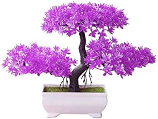BIAOSEN Welcoming Pine Bonsai Simulation Artificial Potted Plant Ornament Home Decor (Color : Rose Red)