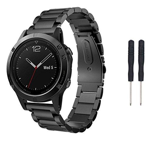 Correa de reloj OverDose correa de pulsera de reloj de acero inoxidable genuino para Garmin Fenix 5 GPS Watch