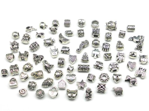 Nambeads ©, 10 charm tibetani misti in argento, adatti per braccialetti Pandora -