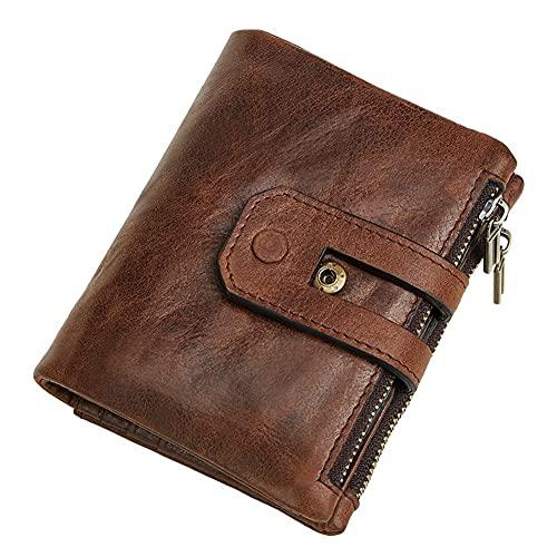 Cartera de cuero genuino con doble cremallera monedero bolsillo monedero monedero RFID bloqueo para hombres (color: marrón hombres cartera)