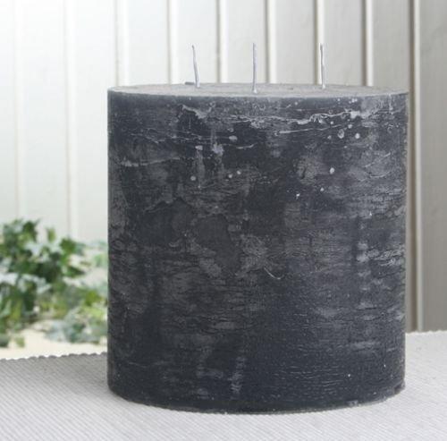 Rustik-Dreidochtkerze, 15 x 15 cm Ø, anthrazit-schwarz