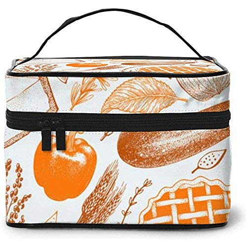 Happy Thanksgiving Day Portable Ladies Travel Cosmetic Case Bag Storage Makeup Pouch Multi-Function Wash Large Capacity