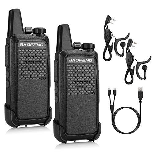 BAOFENG GT-22 PMR 446 Walkie Talkie Set Lizenzfrei Profi-Funkgerät 3KM Reichweite 16 Kanäle Wiederaufladbares Funkgerät mit Headset (2 Stücke)