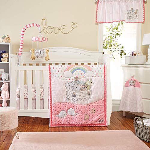 Precious Moments Noah's Ark 4 Pc Crib Bedding for Girls by Everyday Kids; Nursery Set Includes Baby Bed Quilt, Fitted Sheet, Dust Ruffle and Diaper Stacker with Sweet Images of Elephants and Giraffes