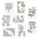 CODOHI 8 Packungen Romantische Schablonen A4 Blume Baum Rose Schmetterling Blatt Elch im Wald Muster...