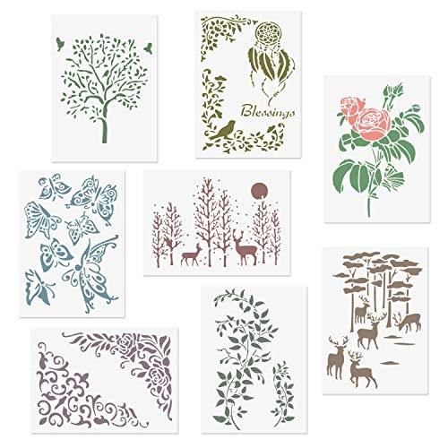 CODOHI 8 Packungen Romantische Schablonen A4 Blume Baum Rose Schmetterling Blatt Elch im Wald Muster wiederverwendbare Mylar-Schablonen ¨C DIY Zeichnen Basteln Schablonen zum Malen 21 x 29.7 cm