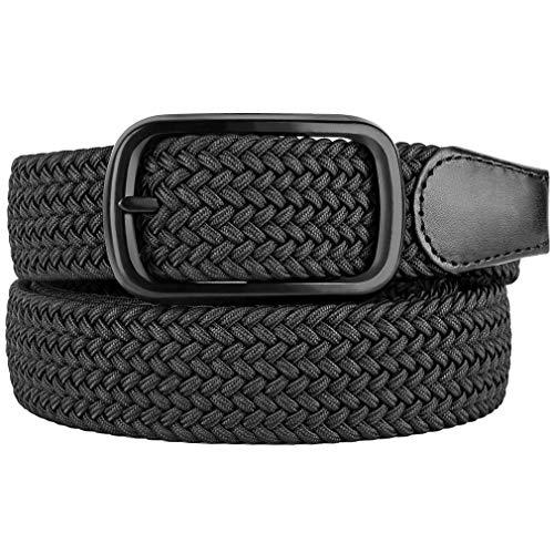 Bluecton Belt Elastic Stretch Woven Braided Belt for Men/Women Plus Size Black Square Business Buckle Size 63''
