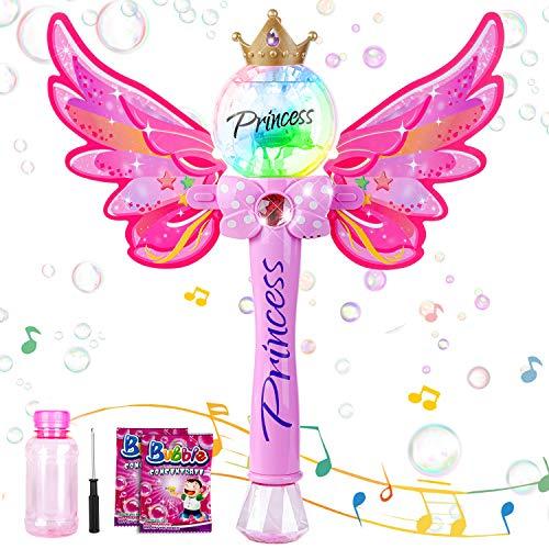 Sundaymot Bubble Machine, Zauberstab Seifenblasenmaschine mit Musik & Licht für Mädchen Kinder, Magic Wand Bubble mit Seifenblasen Flüssigkeit, Outdoor Bubble Toys für Partys Geburtstag Geschenk
