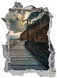 Steg Meer Wasser Küste Laterne Wandtattoo Wandsticker Wandaufkleber E0032 Größe 67 cm x 90 cm