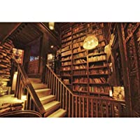 GooEoo 9x6ft本棚の背景レトロな本棚の背景ヴィンテージ木製本棚階段パーティー写真撮影写真の背景家族のパーティーの誕生日の背景ベビーシャワーの装飾ビニール素材