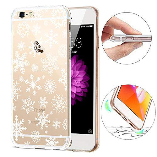 SevenPanda für iPhone 5S Hülle Silikon, für iPhone 5/SE Hülle, TPU Hülle für iPhone SE 5 5S mit Christmas Snowflake Weihnachten Schneeflocke Hirsch Muster Protective Case - Schnee