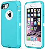 Annymall Case Compatible for iPhone 8 & iPhone 7, Heavy Duty [with Kickstand] [Built-in Screen Protector] Tough 4 in1 Rugged Shorkproof Cover for Apple iPhone 7 / iPhone 8 (Mint/white)